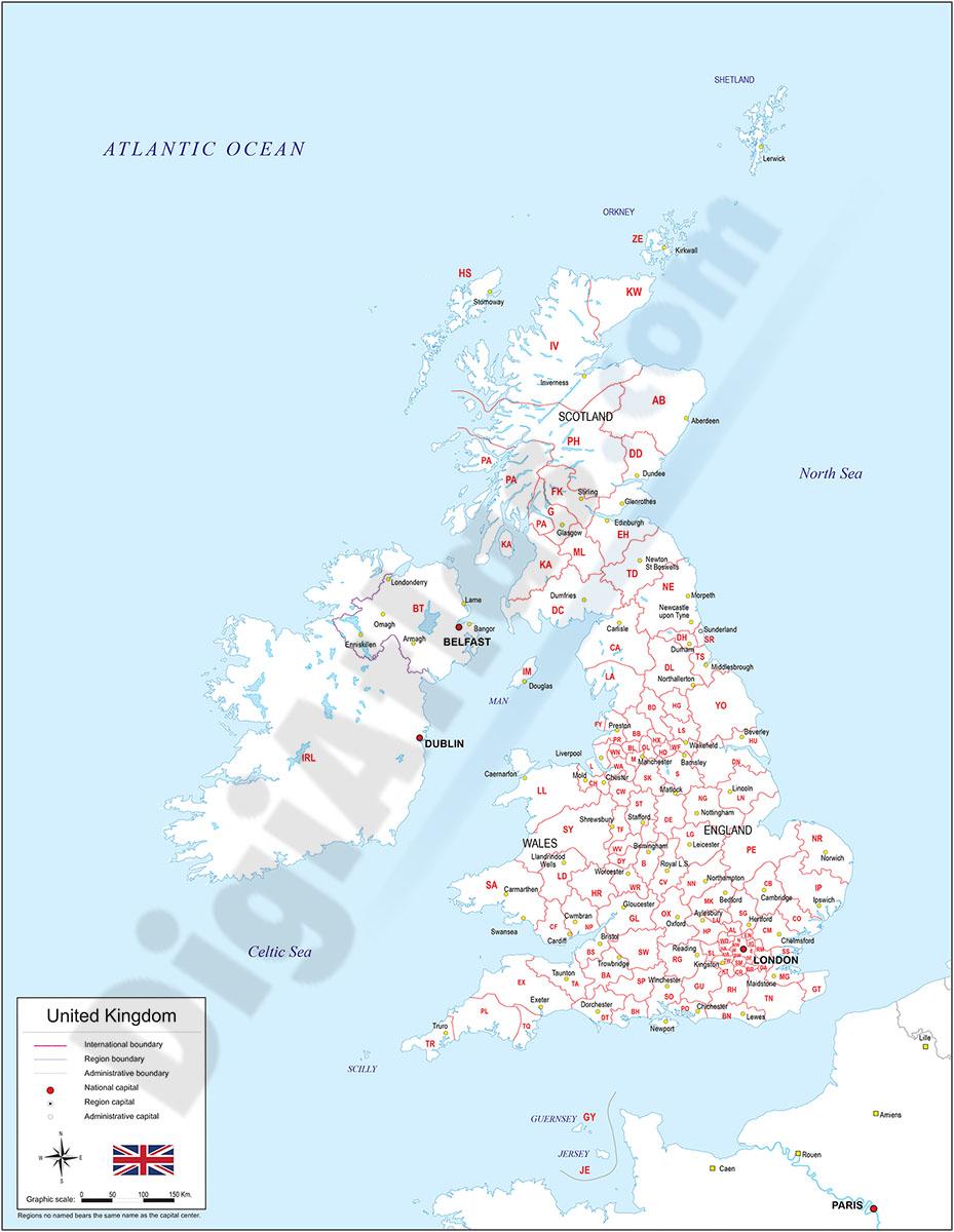 Mapa del Reino Unido con regiones y codigos postales