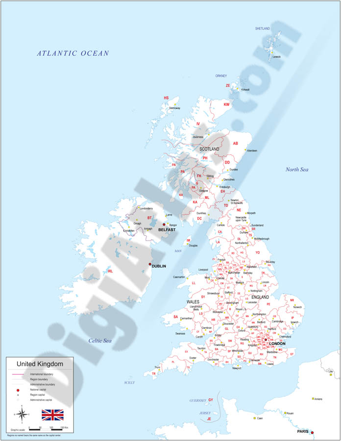 Map of United Kingdom with regions and Postal Codes