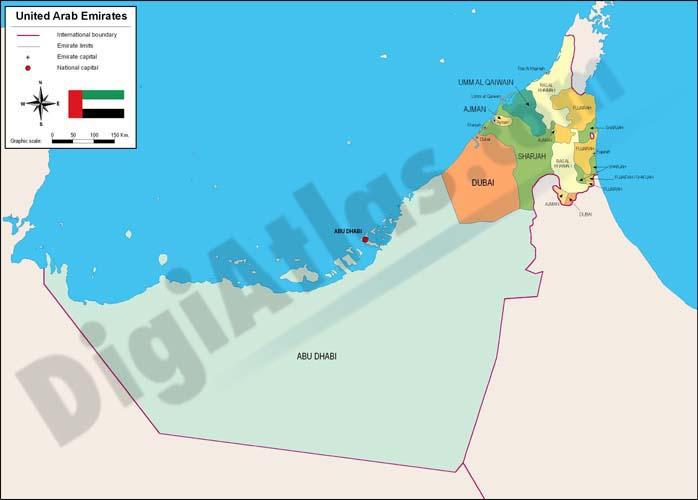 Mapa de Emiratos Arabes Unidos