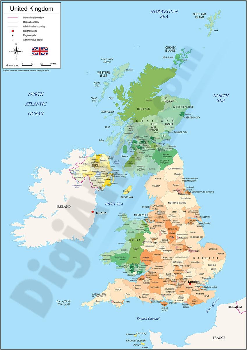 Capitales de Reino Unido Mapa Mapa de Reino Unido