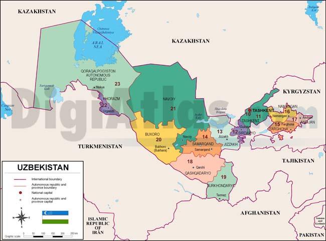 Mapa de Uzbekistán con regiones y codigos postales