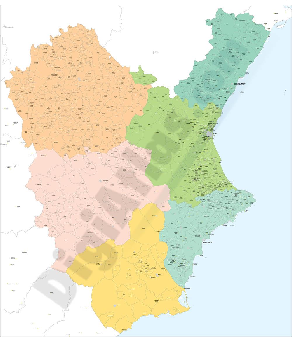 Comunidad Valenciana, Murcia, Cuenca y Albacete - mapa de municipios