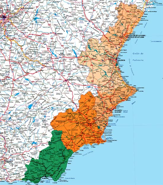 Valencia, Murcia and Almeria provinces map