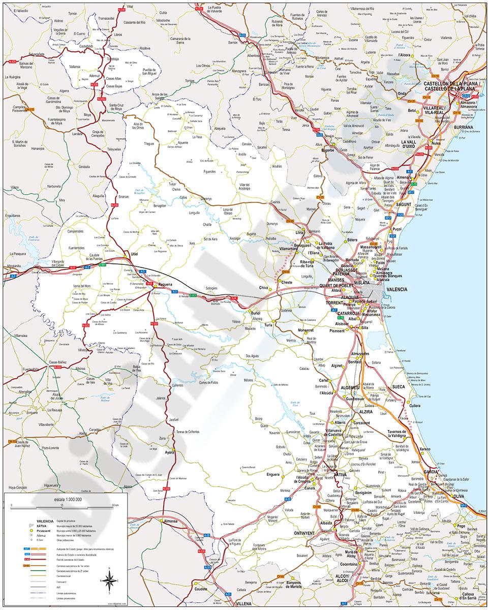 Valencia - Mapa de la provincia