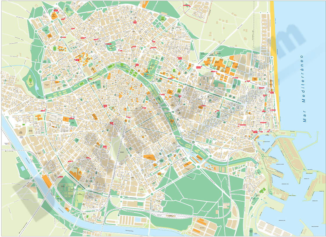 Valencia city map