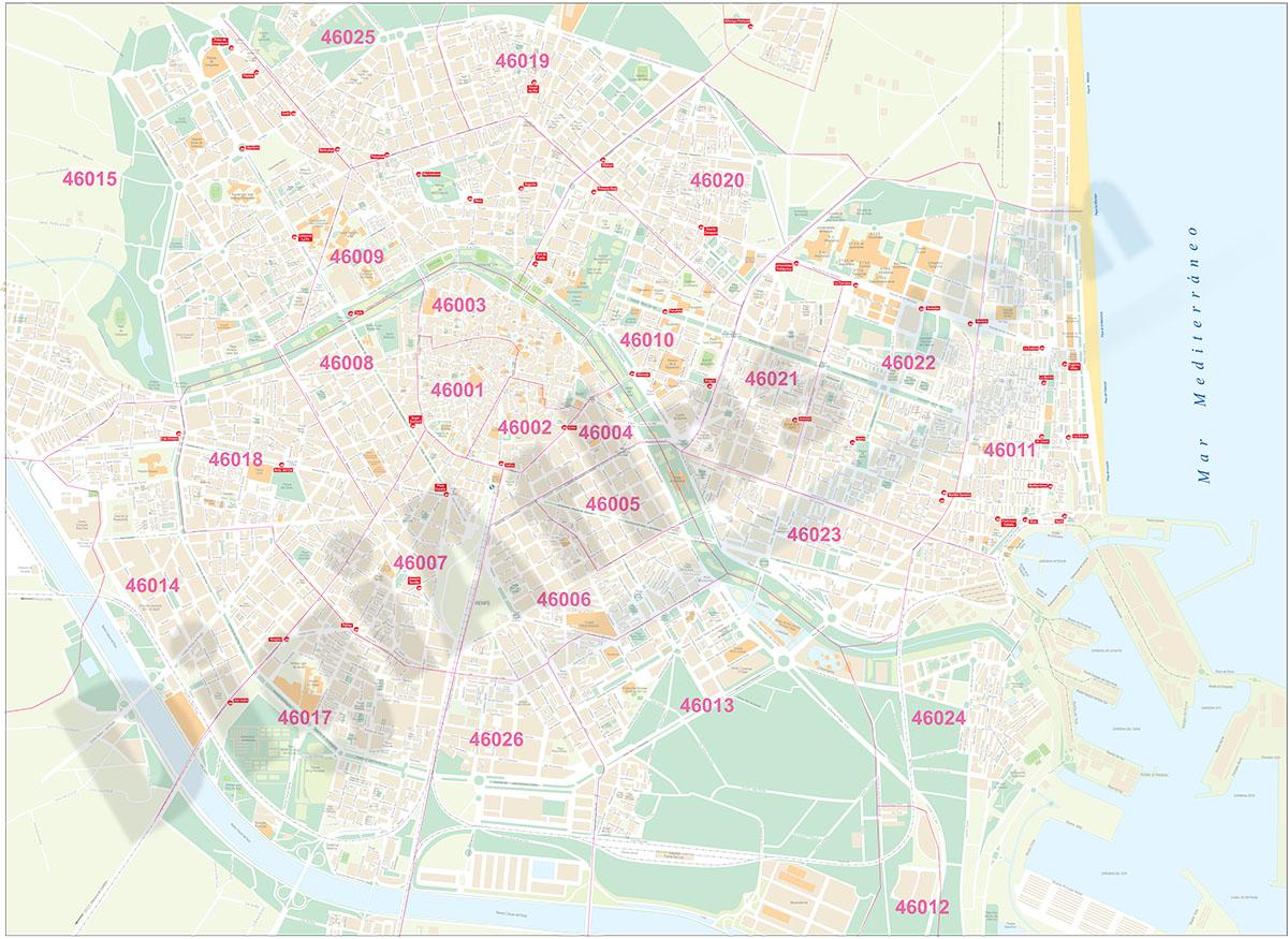 Valencia plano de la ciudad con distritos postales for Codigo postal calle salamanca valencia
