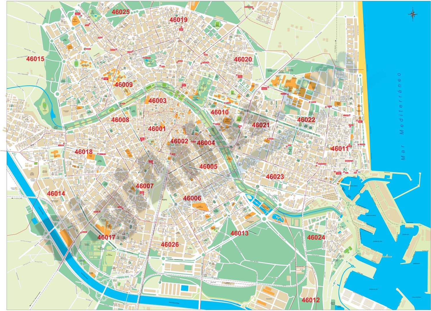 Valencia City map with postcode districts