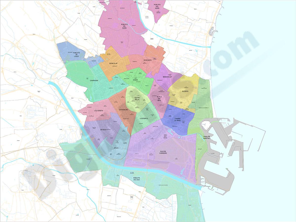 Valencia - distritos y barrios