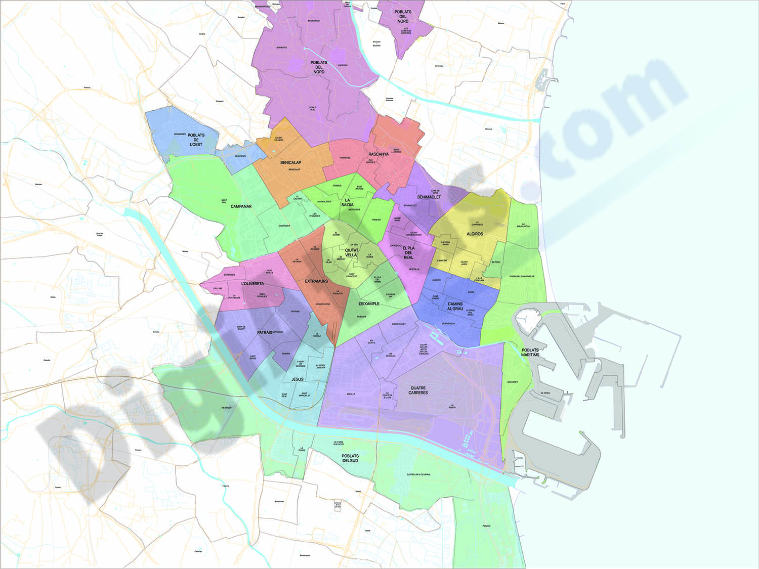 Valencia - districts and neighborhoods