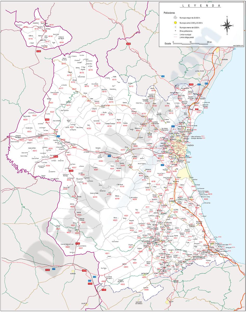 Valencia - mapa provincial con municipios, Códigos Postales y carreteras
