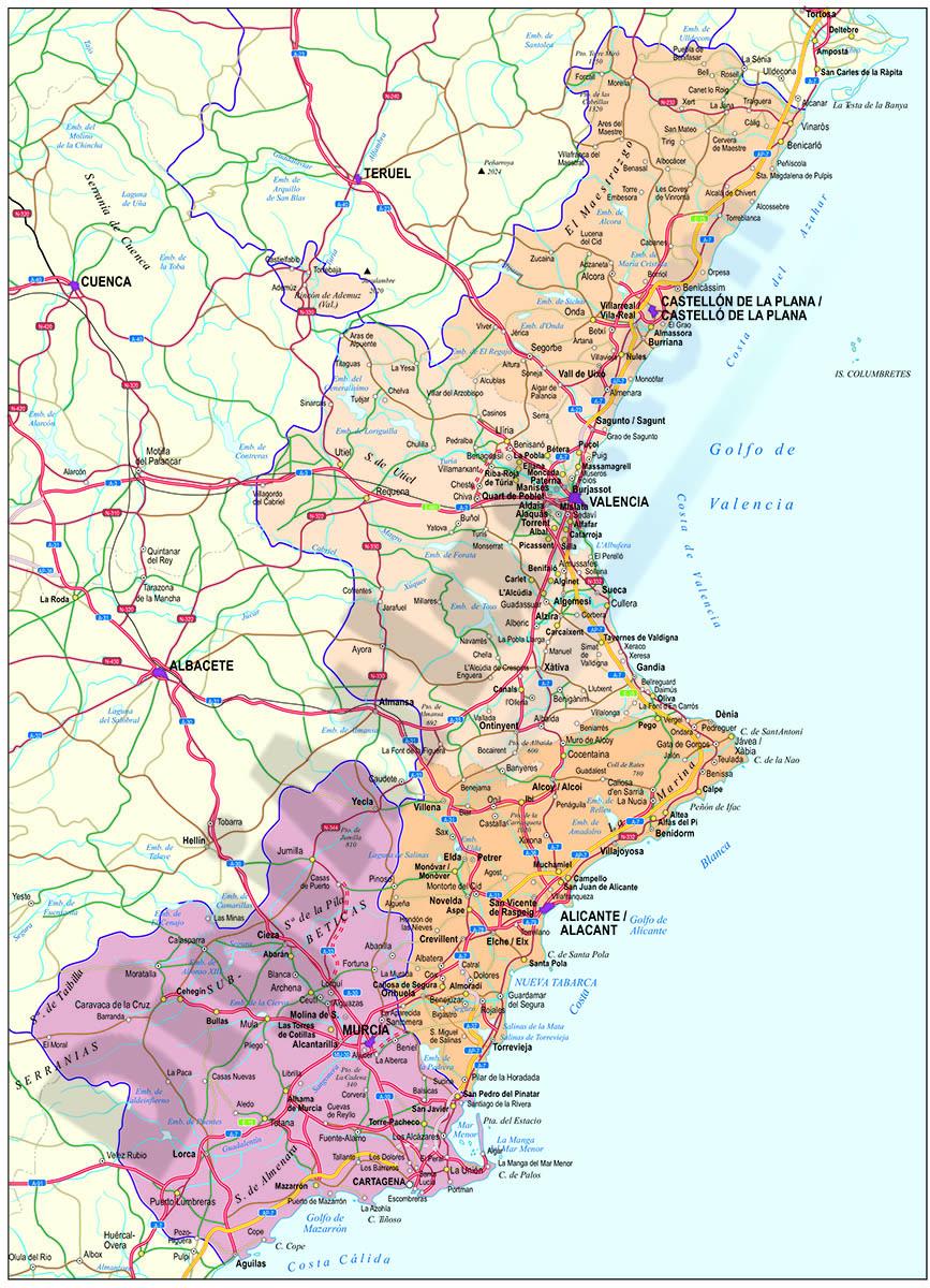 Valencia and Murcia autonomous region map