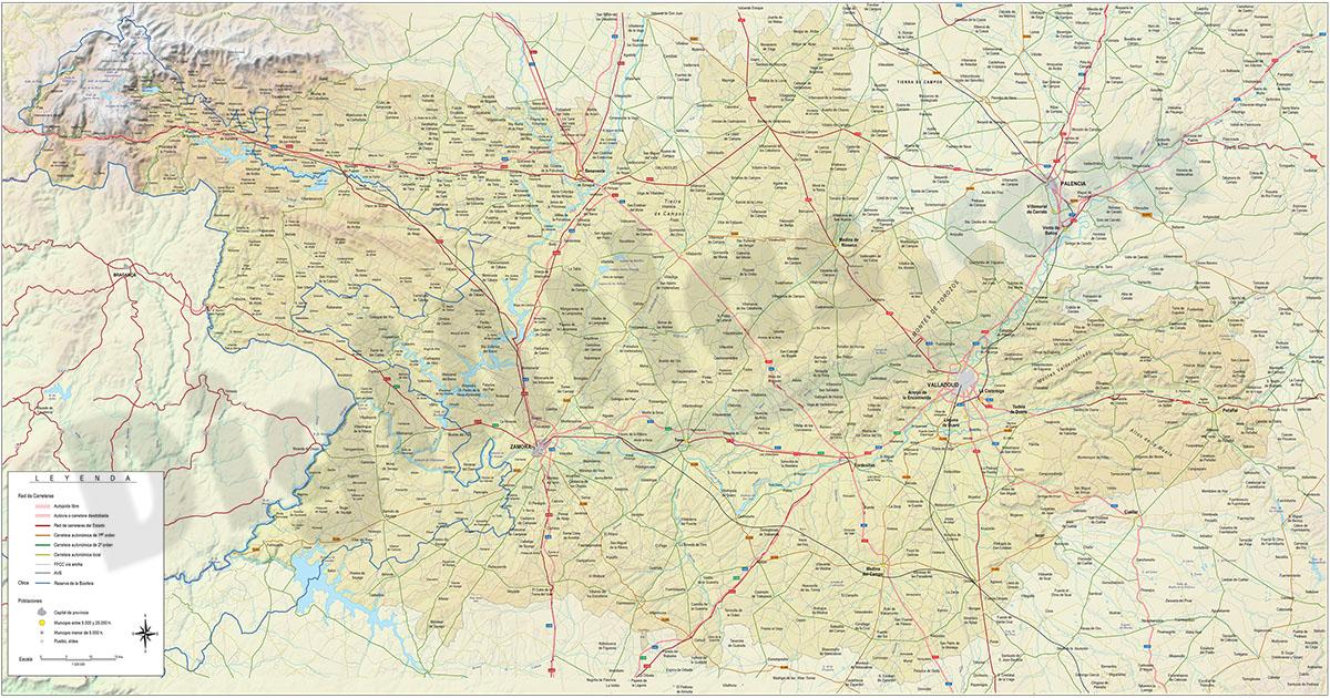 Mapa de las provincias de Zamora y Valladolid