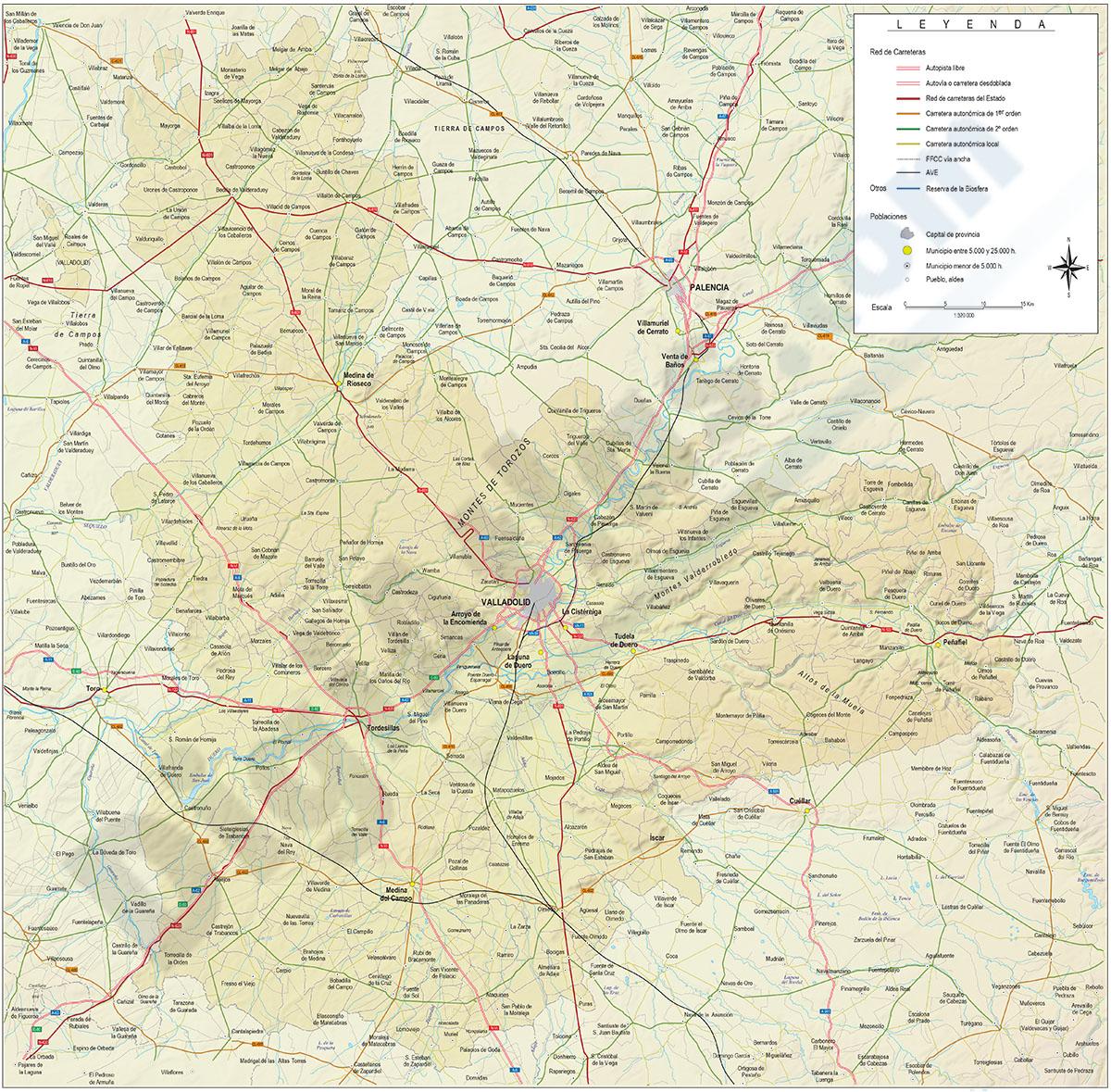 Mapa de la provincia de Valladolid