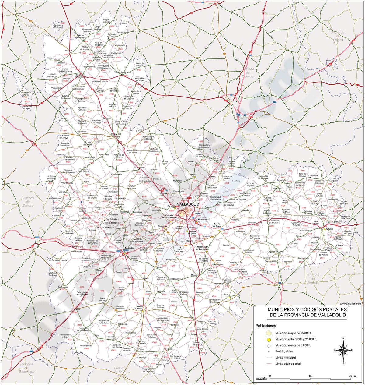 Valladolid - mapa provincial con municipios y Códigos Postales