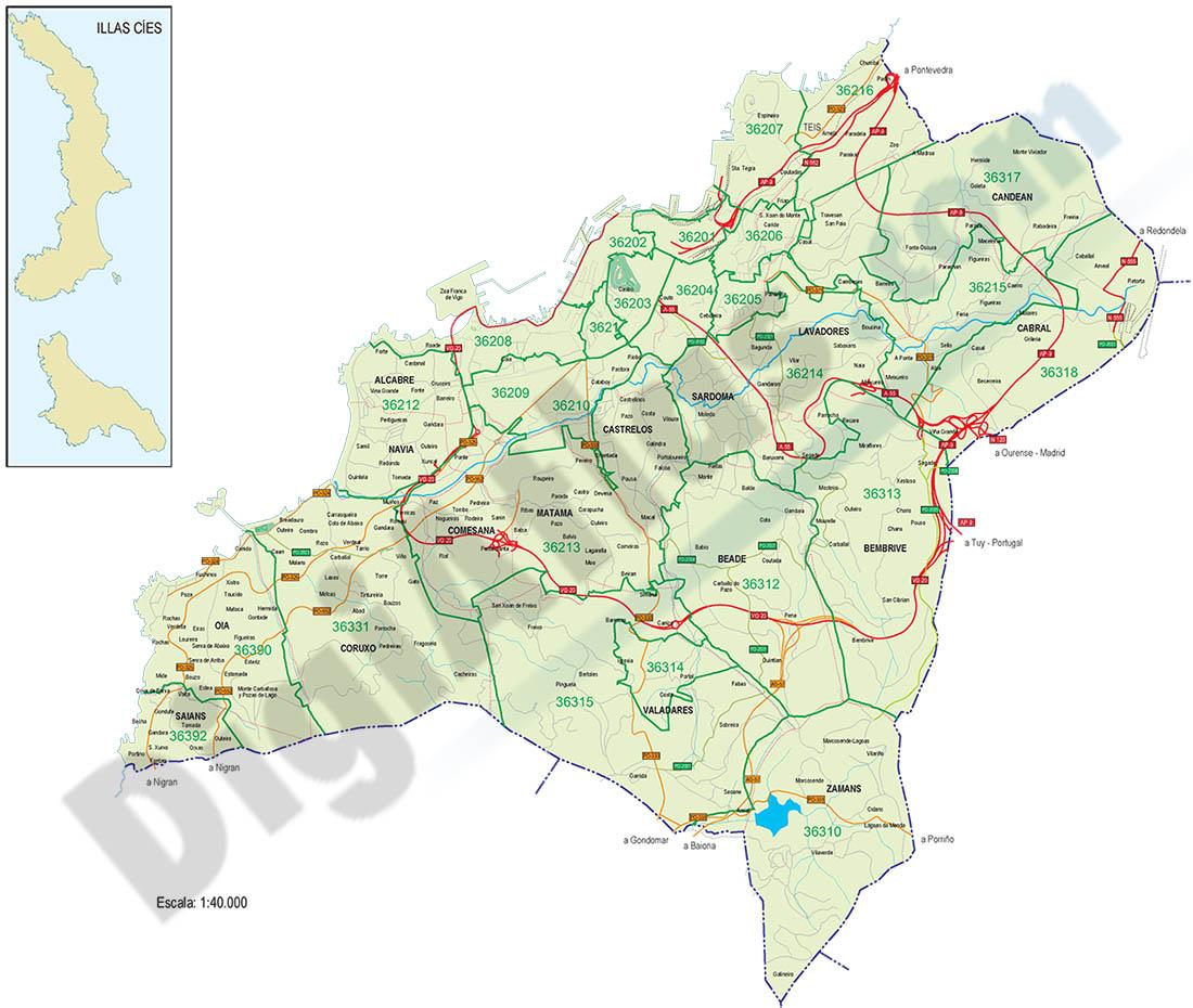 Vigo - mapa con los distritos postales