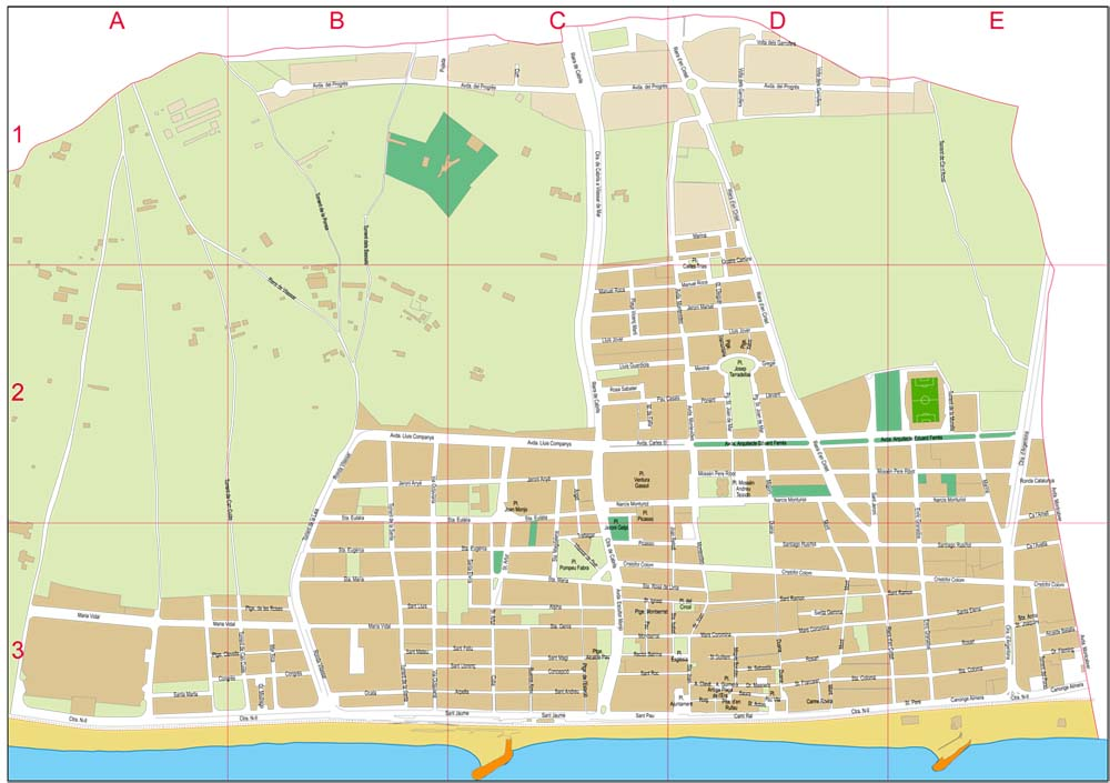 Vilassar De Mar Barcelona Spain City Map