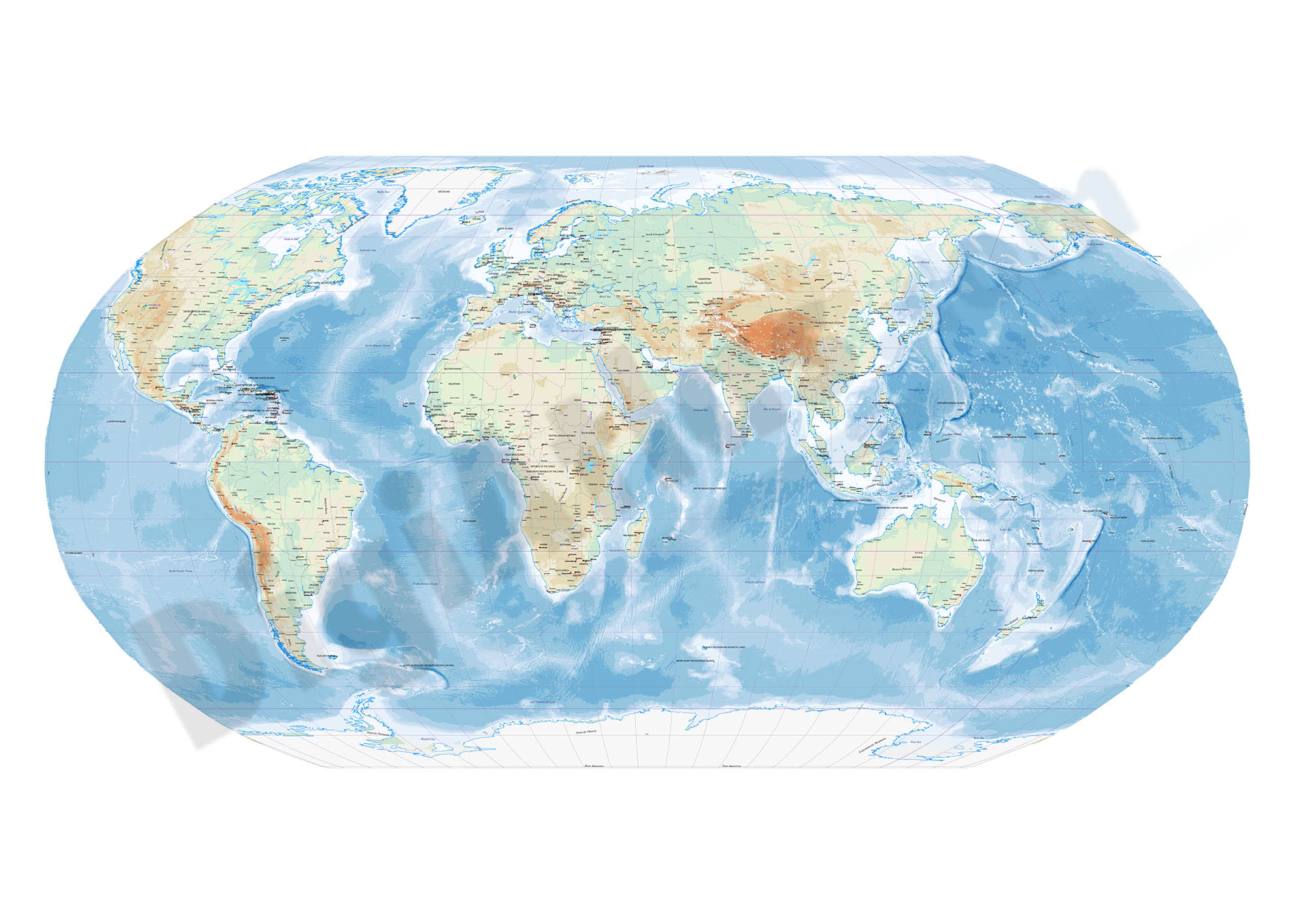 Robinson projected Worldmap centered in Bahrain