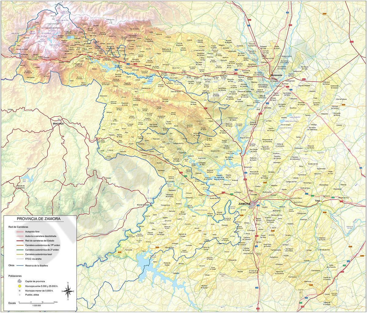 Mapa de la provincia de Zamora