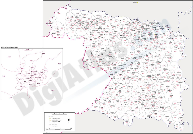 Zamora - mapa provincial con municipios y Códigos Postales
