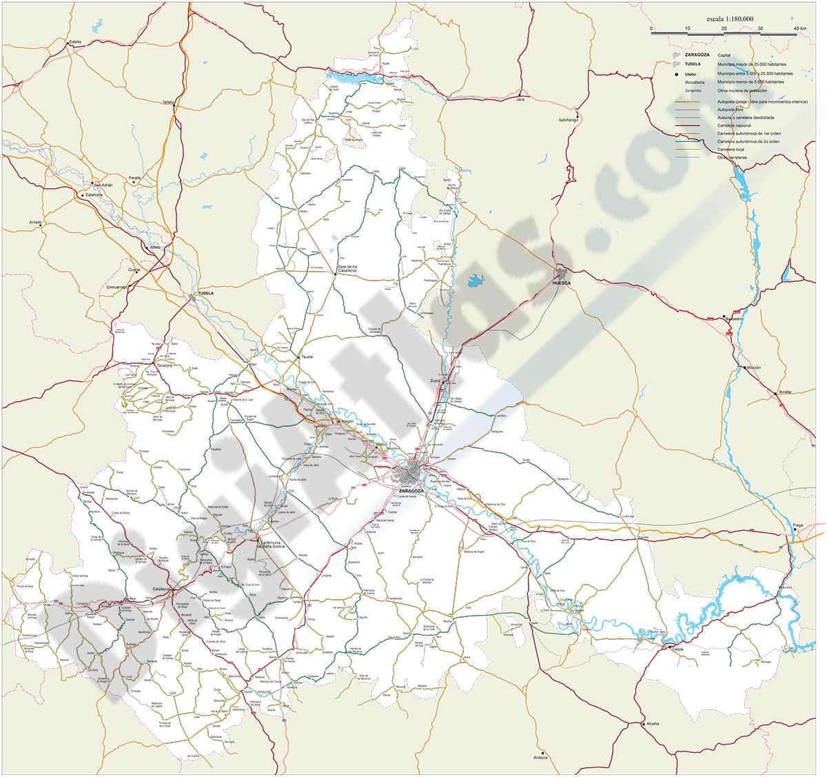Mapa de la provincia de Zaragoza