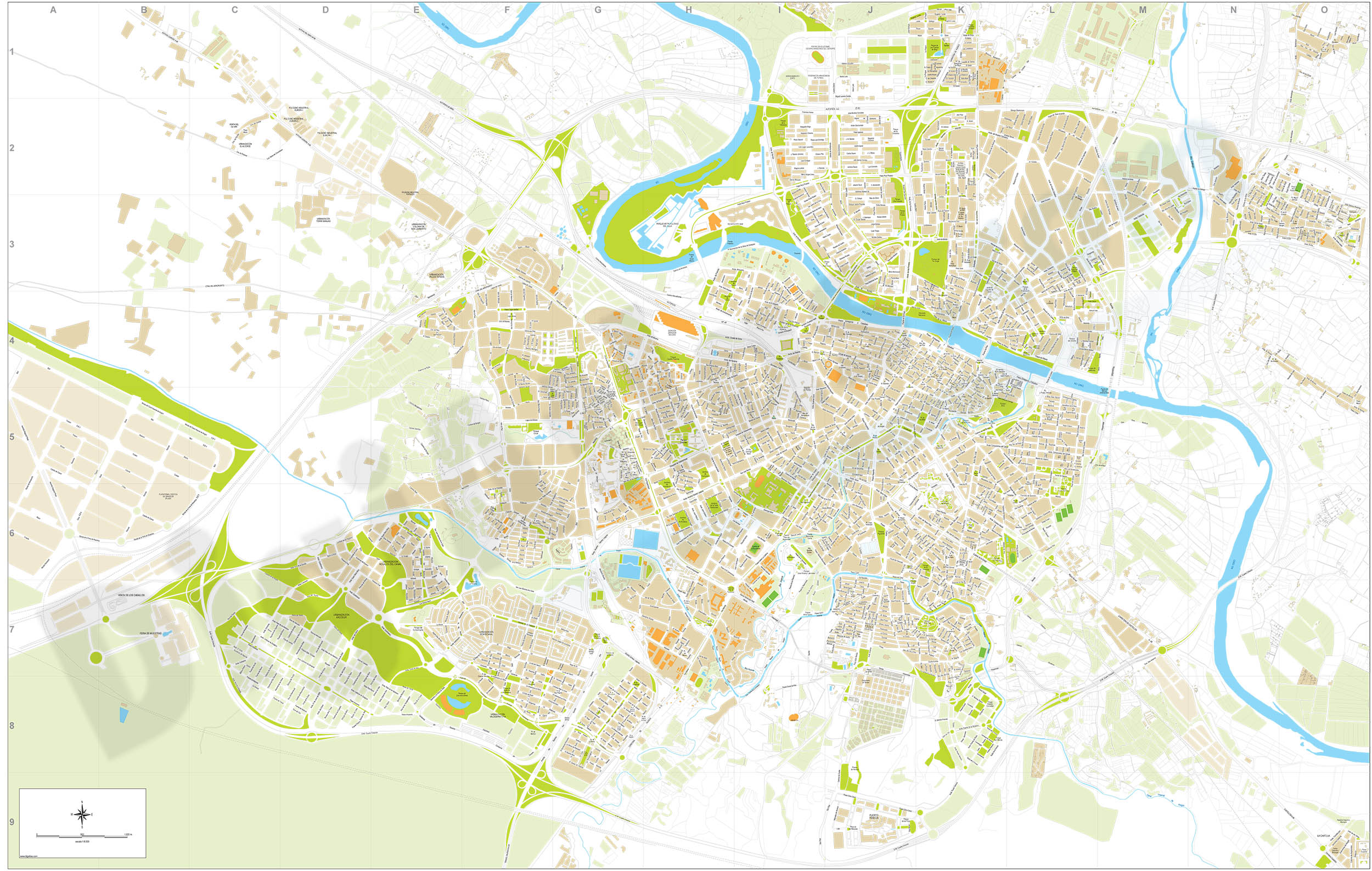 Zaragoza city map PDF