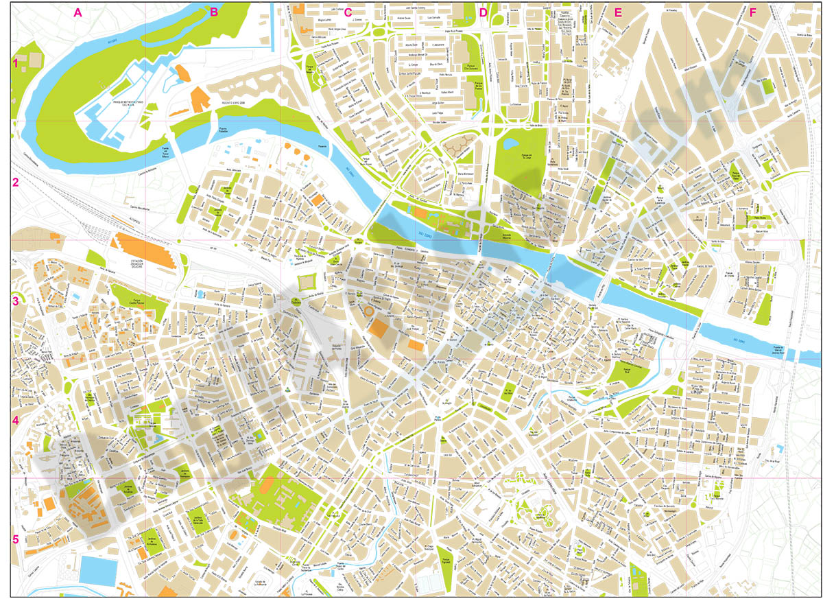 Zaragoza (Saragossa ) center - city map
