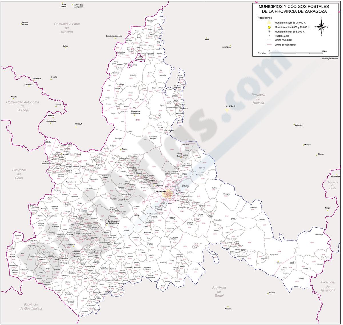 Zaragoza - mapa provincial con municipios y Códigos Postales