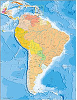 South America political and geographical map