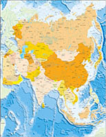 Asia political and geographical map