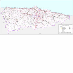 Asturias, Principality of map with municipalities, major roads and postal c