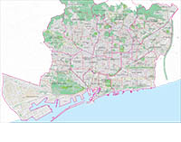 Barcelona - Plano de la ciudad con distritos postales