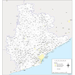 Maps of 50 spanish provinces with municipalities and their capitals