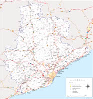 Barcelona - province map with municipalities, postal codes and roads.
