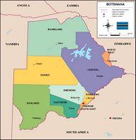 Mapa de Botswana