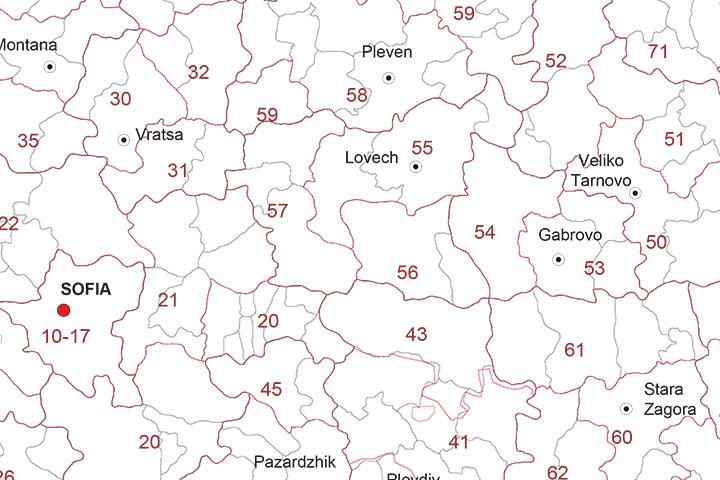 Mapa de Bulgaria con regiones y codigos postales