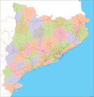 Catalonia - Map with postal codes, comarcas, municipalities and major roads
