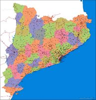 Map of Catalonia (Spain) with municipalities and major roads