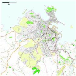 A Coruña City map with postcode districts
