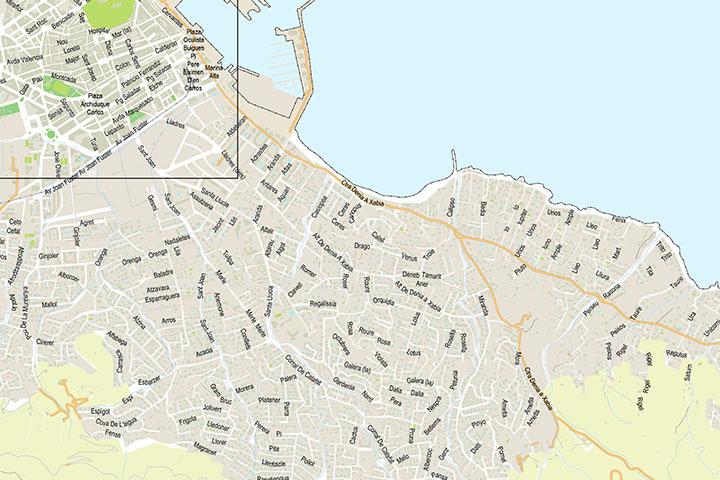 Denia - plano centro y playas