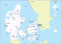Map of Denmark with regions and 2 digit postal codes areas