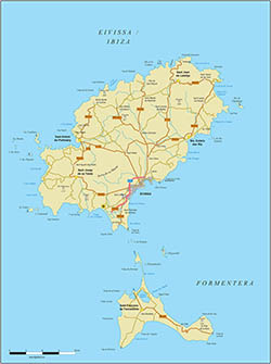 Map of Ibiza-Eivissa island (Balearic Islands)