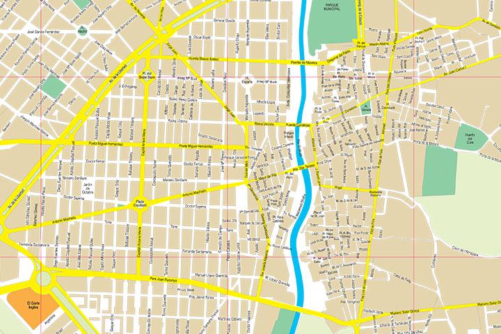 Elche (province of Alicante) city map