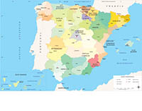 Spain map Autonomous Communities and provinces.