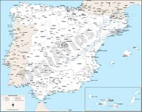 Map of Spain with cities over 25.000 citizens