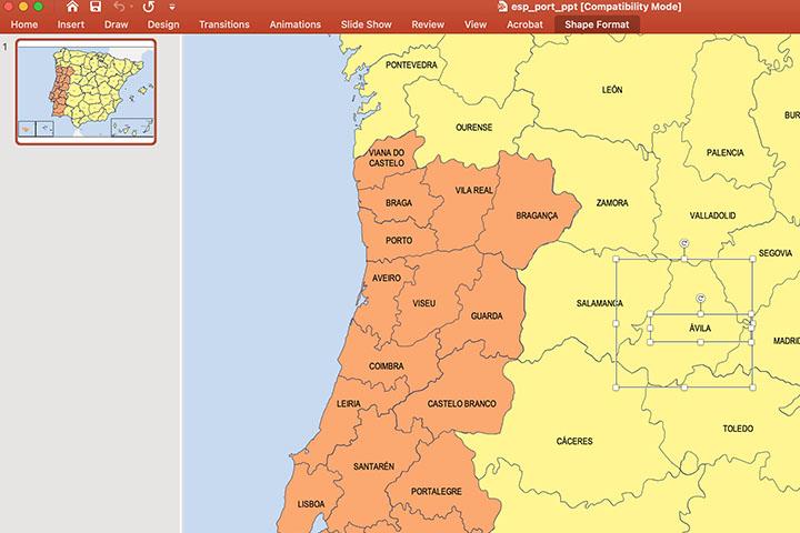 Mapa de España y Portugal con provincias en PowerPoint