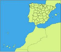 Map of Spain with provinces and major cities (over 10000 citizens).