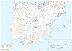 Map of Spain with postal codes