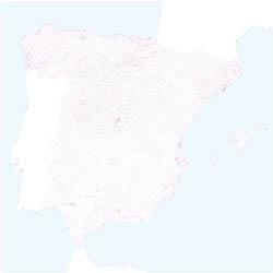 Mapa de España con códigos postales de 5 cifras
