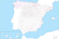 Map of Spain with municipalities and Postal Codes
