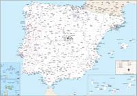 Map of Spain and Portugal with provinces and Postal Codes